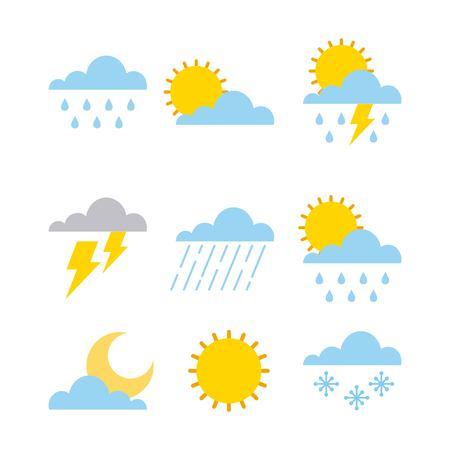 Illustration pour set of climate  change clouds sun rain sky vector illustration - image libre de droit