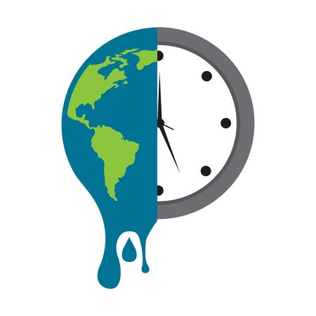Ilustración de melting earth planet and clock time environment vector illustration - Imagen libre de derechos