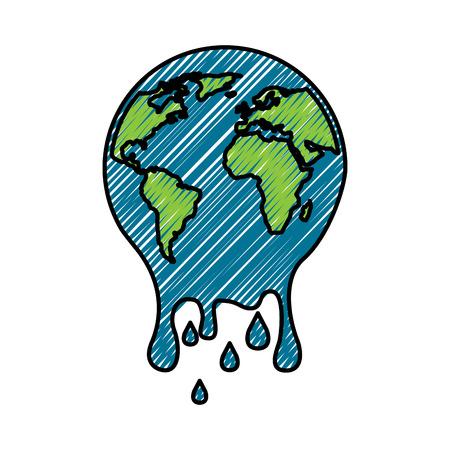 Illustration pour Melting  planet earth warming environment concept illustration. - image libre de droit