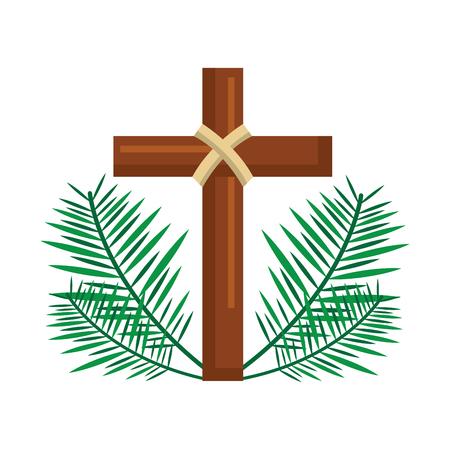 Illustration pour sacred cross religious with frond branches vector illustration - image libre de droit
