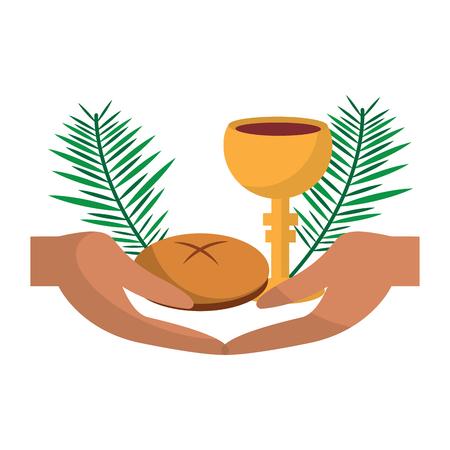 Illustration pour catholic tradition hand bread cup grail and palm branch vector illustration - image libre de droit