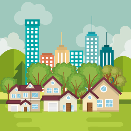 A landscape with neighborhood scene vector illustration design