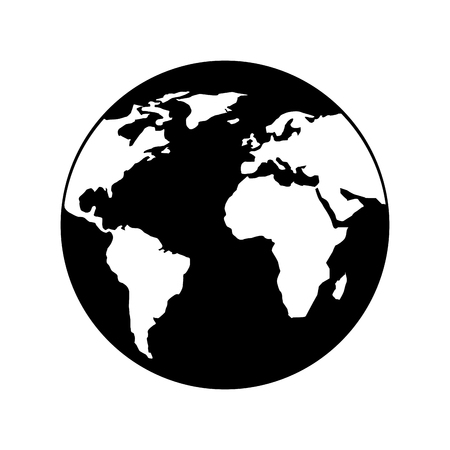 Illustration for globe world earth planet map icon vector illustration black and white design - Royalty Free Image