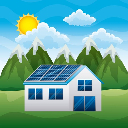 Landscape of mountain house with solar panel vector illustration
