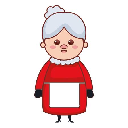 cute santa wife character vector illustration design
