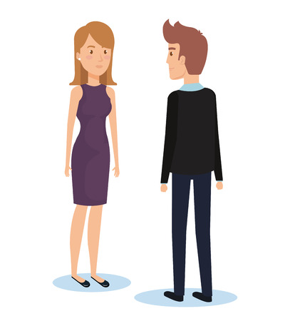 Young couple facing each other vector illustration design