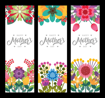 Illustration for happy mothers day vertical banners delicate romantic flowers decoration vector illustration - Royalty Free Image