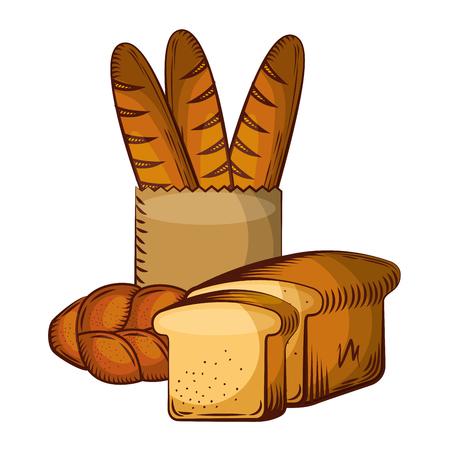 Vektor für Bread fresh bakery products food vector illustration. - Lizenzfreies Bild