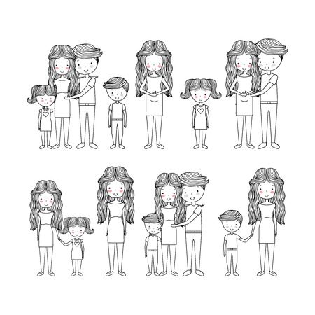 cute types of family hand drawn image vector illustration design