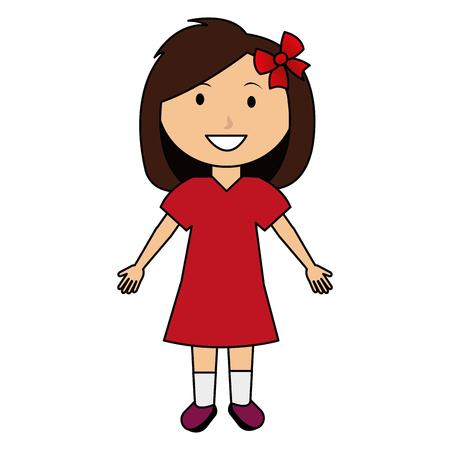 cute and little girl with bow vector illustration design