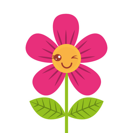 Illustration for beautiful flower wink cartoon vector illustration - Royalty Free Image