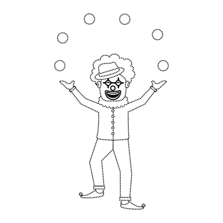 happy smiling clown juggling balls show character vector illustration dotted line image