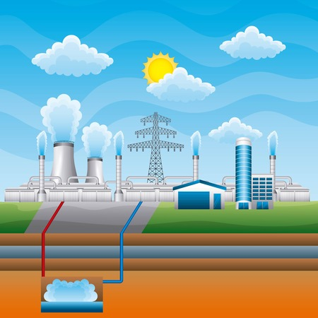 Ilustración de Station geothermal power clean - renewable energy vector illustration - Imagen libre de derechos