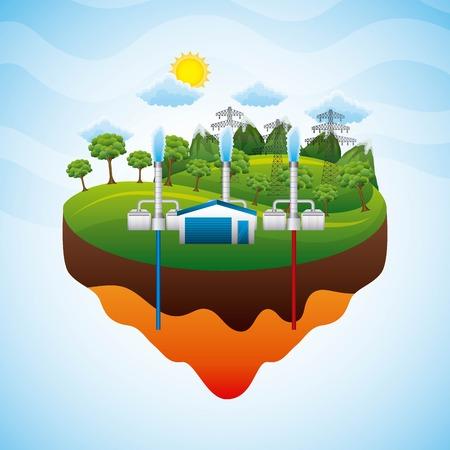 Ilustración de landscape geothermal station electricity pylon - renewable energy vector illustration - Imagen libre de derechos