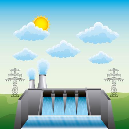 Illustration pour Hydroelectric dam nuclear plant and electric pylon - renewable energy vector illustration - image libre de droit