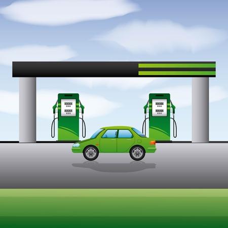 Illustration pour Station gasoline car transport biofuel vector illustration - image libre de droit