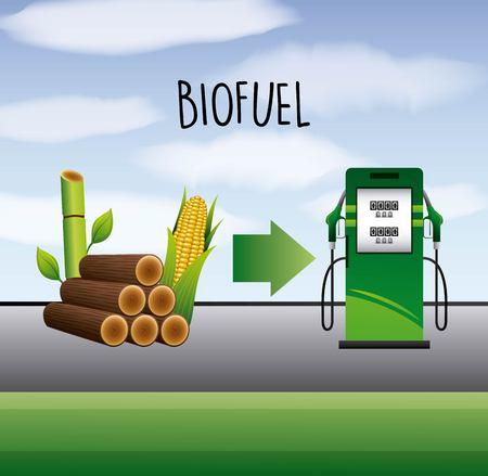 Ilustración de biofuel sugarcane and corn ethanol pump station vector illustration - Imagen libre de derechos