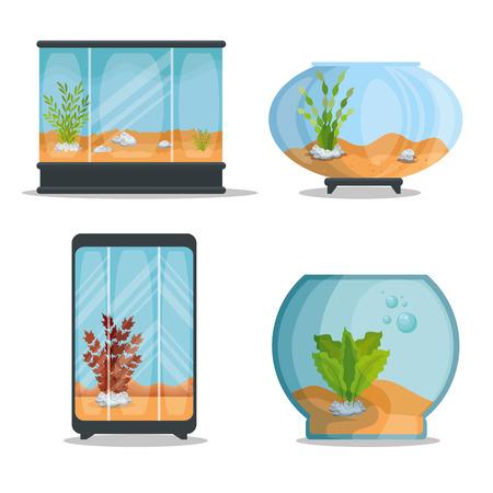 Illustration pour set beautiful aquariums icons vector illustration design - image libre de droit
