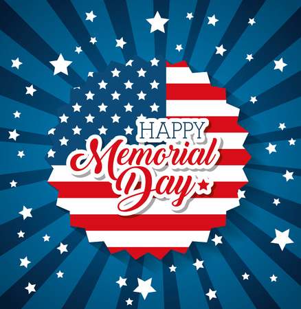 Illustration pour Happy memorial day with flag vector illustration design - image libre de droit