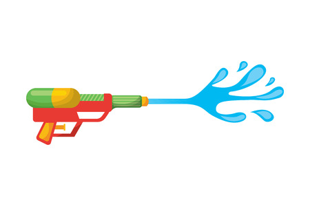 water gun shoot splash toy plastic vector illustration