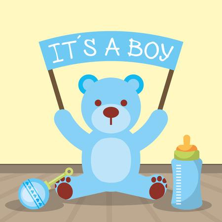Illustration pour baby shower card blue bear holding board its a boy vector illustration - image libre de droit