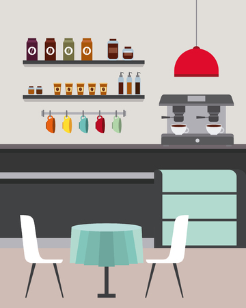 Coffee Shop Interior Furniture Restaurant Room Vector Illustration Royalty Free Vector Graphics