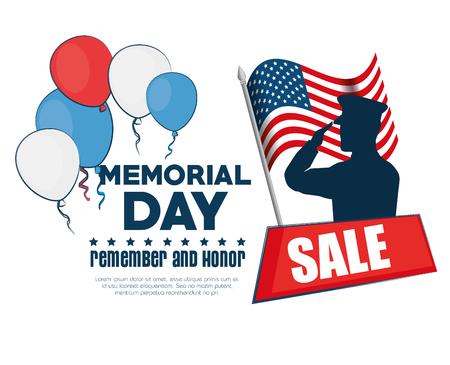 Ilustración de memorial day sale poster vector illustration design - Imagen libre de derechos