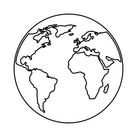 Illustration pour globe world planet map earth image vector illustration outline design - image libre de droit