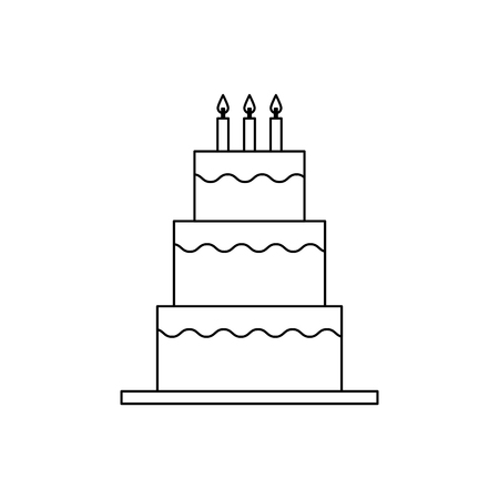 sweet birthday cake with candles decoration vector illustration outline design