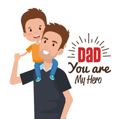 Illustration pour happy fathers day characters vector illustration design - image libre de droit