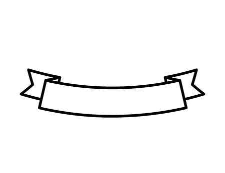ribbon banner ornament decoration empty vector illustration outline