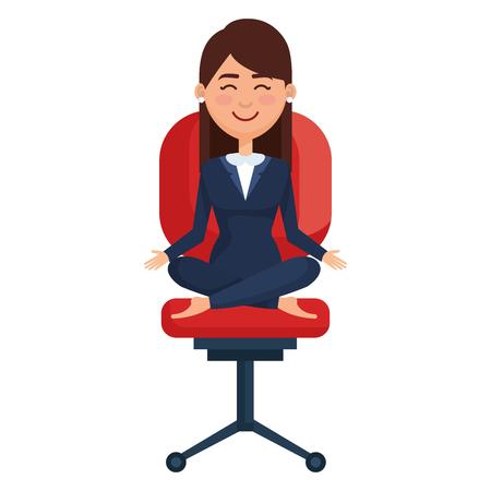 Ilustración de businesswoman doing the lotus position in office chair vector illustration - Imagen libre de derechos