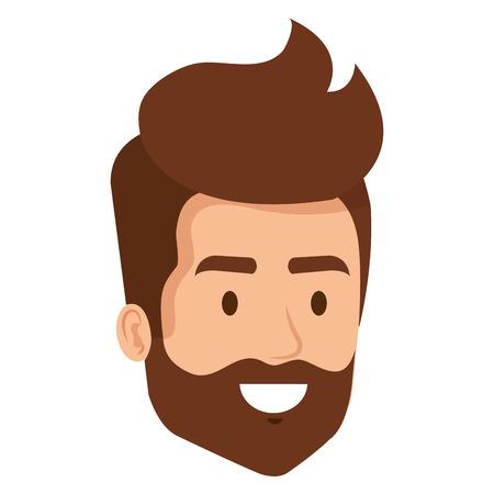 Vektor für young man with beard hipster style head avatar character vector illustration - Lizenzfreies Bild