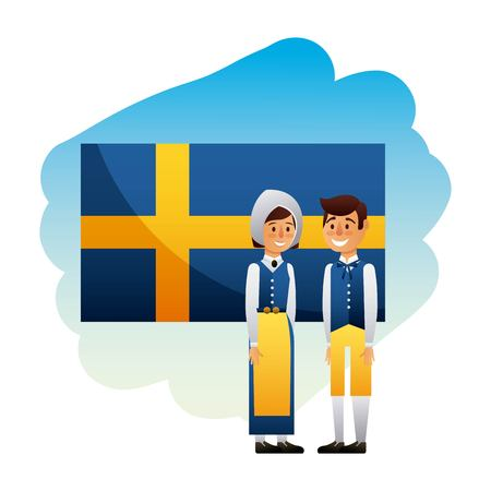 Midsummer swedish celebration with flag of sweden and couple smiling vector illustration
