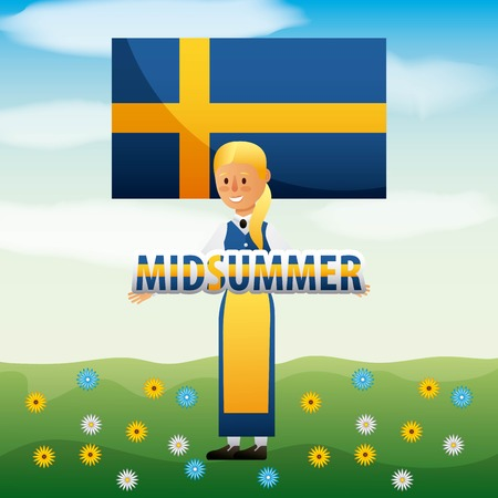 Midsummer swedish celebration with woman and flag of sweden in field with flowers vector illustration