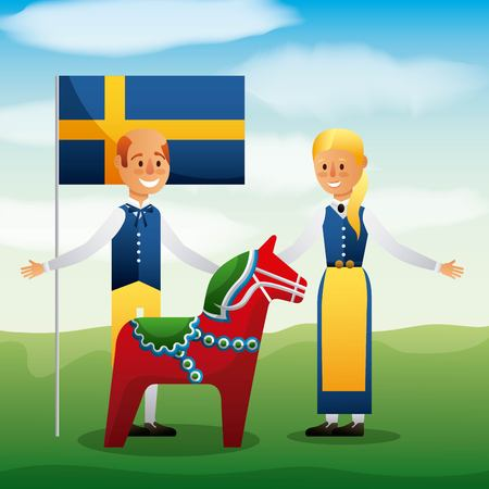Midsummer celebration with people wearing traditional clothes, swedish flag and woodhorse vector illustration
