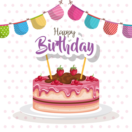 Birthday cake with garland design vector illustration.
