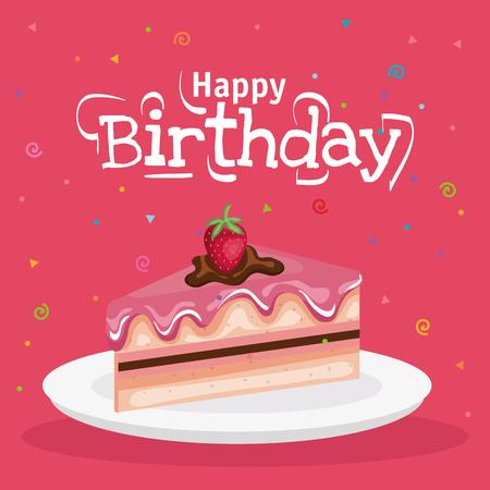 Birthday cake slice design for greeting card.
