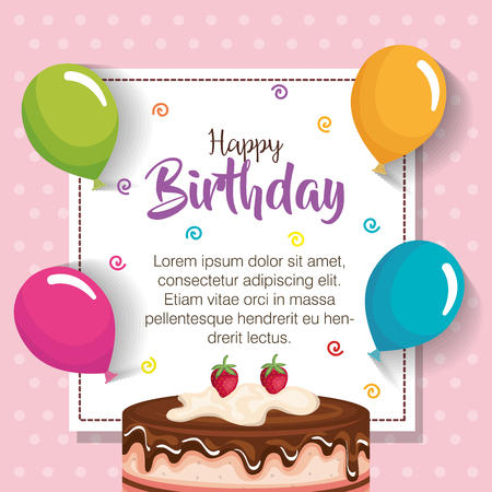 Birthday card or poster design with cake and balloons.
