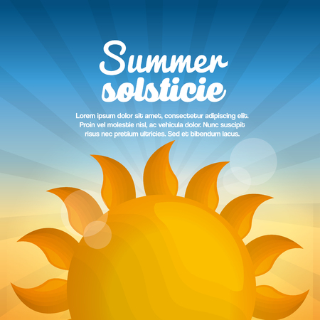 Ilustración de summer solstice vacations day bright sun blue sky shine vector illustration - Imagen libre de derechos