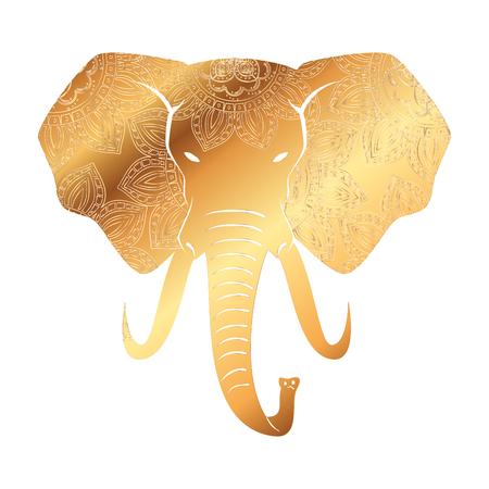 Ilustración de golden elephant with mandala pattern vector illustration design - Imagen libre de derechos