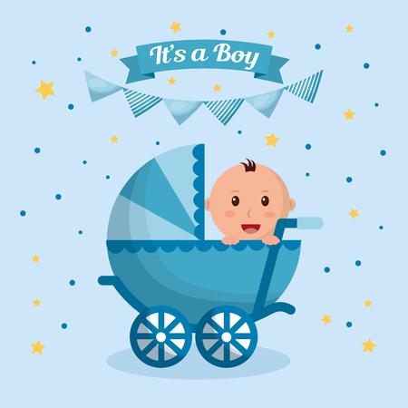 Vektor für Baby shower boy stars blue pennants background celebration born pram vector illustration - Lizenzfreies Bild