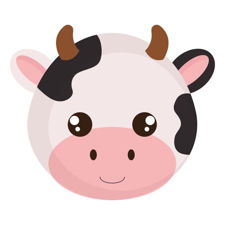 Ilustración de cute and little cow head character vector illustration design - Imagen libre de derechos