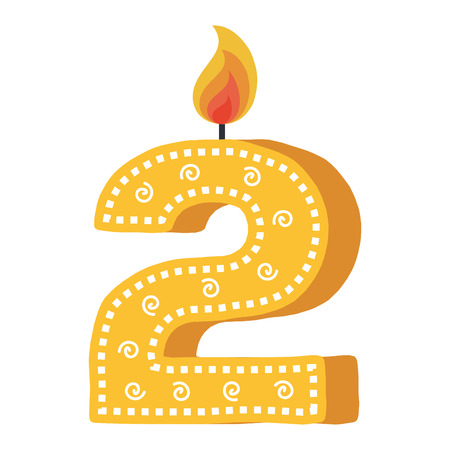 Illustration pour birthday candle with number two vector illustration design - image libre de droit