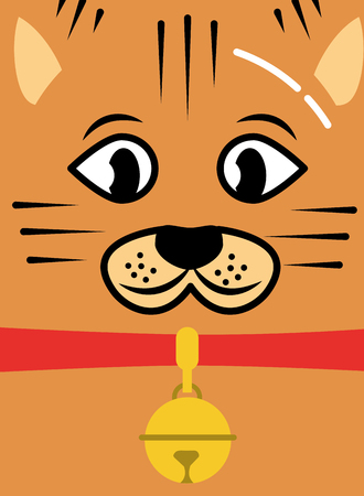 cat pet face with collar and bell card vector illustration