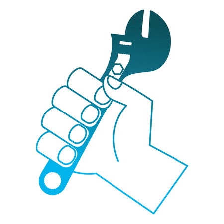 hand holding adjustable wrench tool repair vector illustration degraded blue color