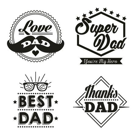 Illustration pour happy fathers day stickers with mustache best dad glasses super hero vector illustration - image libre de droit
