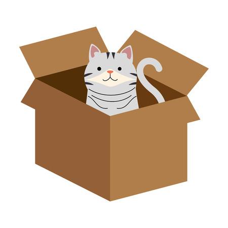 Ilustración de A cute cat in carton box vector illustration design - Imagen libre de derechos