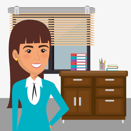 Illustration pour elegant businesswoman in the office scene vector illustration design - image libre de droit