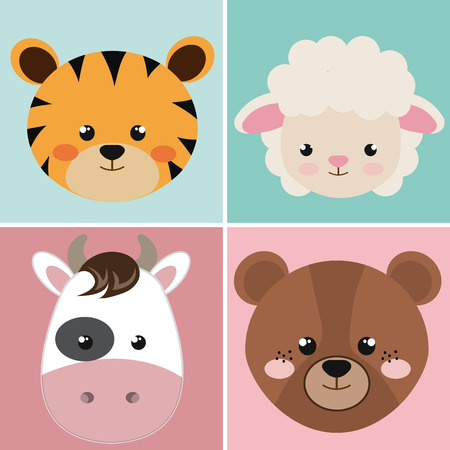 Illustration for cute group head animals characters vector illustration design - Royalty Free Image